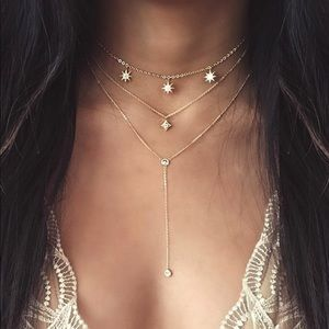 Gold star detail lariats layered necklace